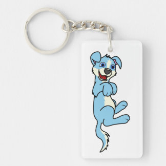 Smiling Light Blue Puppy Dog with Blaze Roll Over Keychain