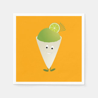 Smiling lime-flavored snow cone napkin