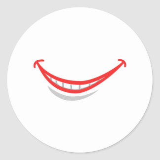 Smiling Lips Round Stickers