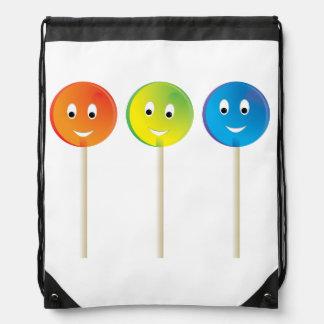 Smiling lollipops drawstring backpack