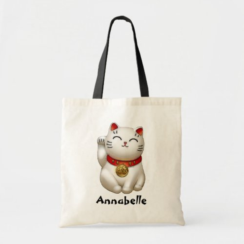 Smiling Lucky Cat Personalize Tote Bag