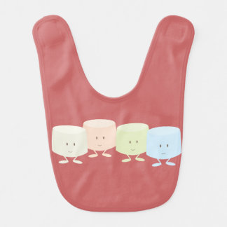Smiling marshmallow characters baby bib