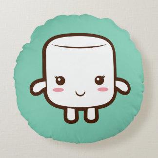 Smiling marshmallow round pillow