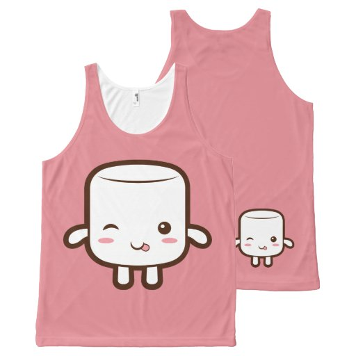 Smiling marshmallow with tongue out All-Over print tank top Tank Tops, Tanktops Shirts
