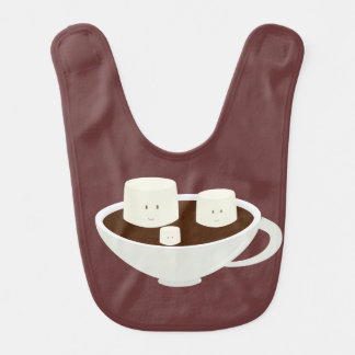 Smiling marshmallows in hot chocolate bib