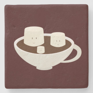 Smiling marshmallows in hot chocolate stone coaster