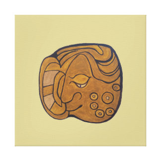 SMILING MAYAN MEDALLION- CREAM COLORED BACKGROUND CANVAS PRINT