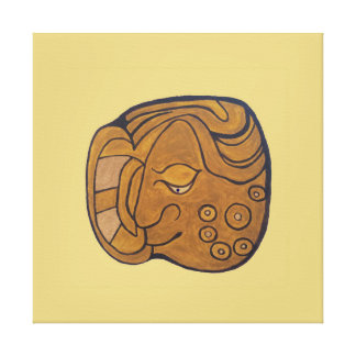 SMILING MAYAN MEDALLION- GOLD BACKGROUND CANVAS PRINT