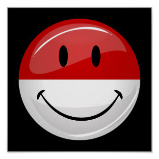 Smiling Monaco Flag Poster