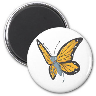 Smiling Monarch Butterfly 2 Inch Round Magnet