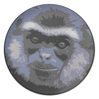 Smiling Monkey Face Plate (blue)