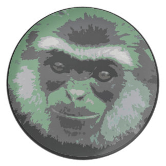 Smiling Monkey Face Plate (green)