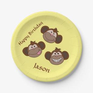Smiling monkeys paper plate  sc 1 st  Zazzle & Smiling Monkey Plates | Zazzle