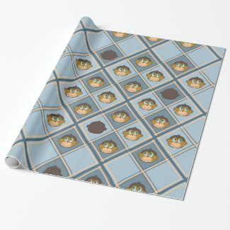 Smiling monkeys pattern, boy, blue wrapping paper