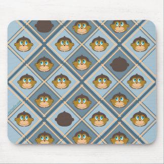 Smiling monkeys pattern, boys, blue mouse pad