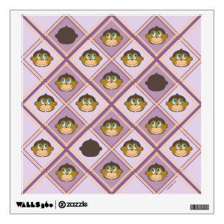 Smiling monkeys pattern safari girly pink room stickers