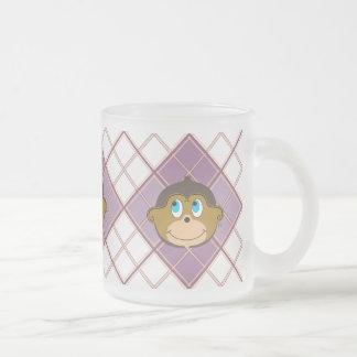 Smiling monkeys plaid pattern girly pink frosted glass coffee mug