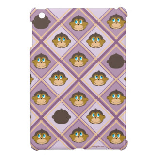 Smiling monkeys plaid pattern girly pink iPad mini cover