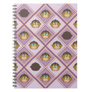 Smiling monkeys plaid pattern girly pink notebook