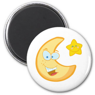 Smiling Moon And Star Cartoon Characters 2 Inch Round Magnet