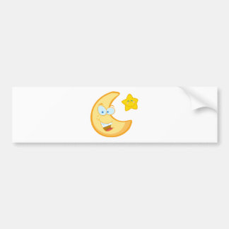 Smiling Moon And Star Cartoon Characters Bumper Sticker