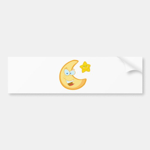 Smiling Moon And Star Cartoon Characters Bumper Stickers