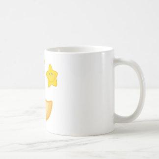 Smiling Moon And Star Cartoon Characters Coffee Mug