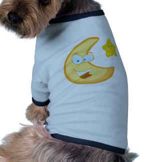 Smiling Moon And Star Cartoon Characters Doggie Tee
