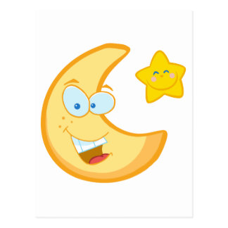 Smiling Moon And Star Cartoon Characters Postcard
