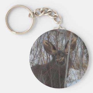 Smiling Moose Basic Round Button Keychain
