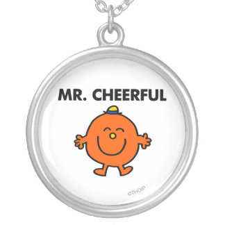 Smiling Mr. Cheerful Round Pendant Necklace
