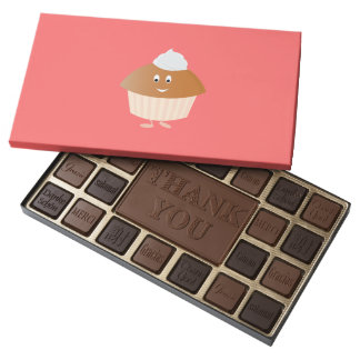 Smiling muffin character 45 piece assorted chocolate box