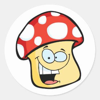 Smiling Mushroom Cartoon Character Classic Round Sticker