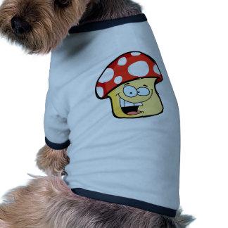 Smiling Mushroom Cartoon Character Dog Tee Shirt