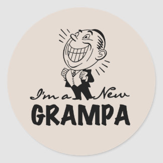 Smiling New Grampa T-shirts and Gifts Classic Round Sticker