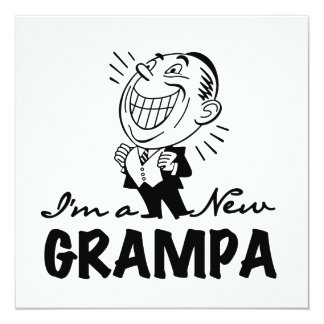 Smiling New Grampa T-shirts and Gifts 5.25x5.25 Square Paper Invitation Card