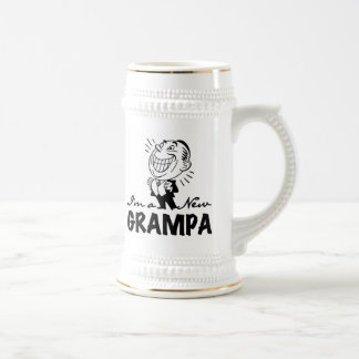 Smiling New Grampa T-shirts and Gifts 18 Oz Beer Stein