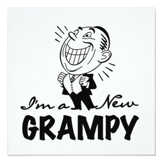Smiling New Grampy T-shirts and Gifts 5.25x5.25 Square Paper Invitation Card