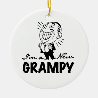 Smiling New Grampy T-shirts and Gifts Double-Sided Ceramic Round Christmas Ornament