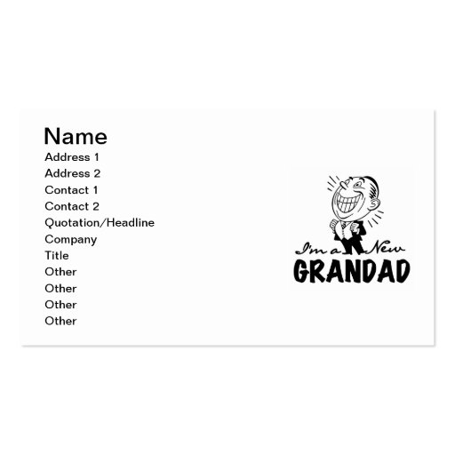 Smiling New Grandad T-shirts and Gifts Business Card