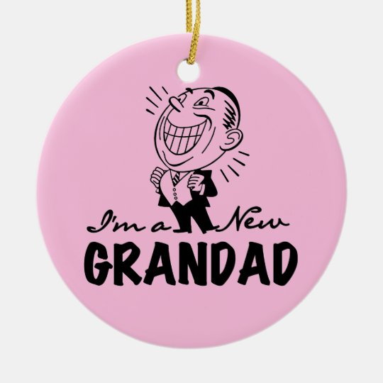 Smiling New Grandad T-shirts and Gifts Ceramic Ornament