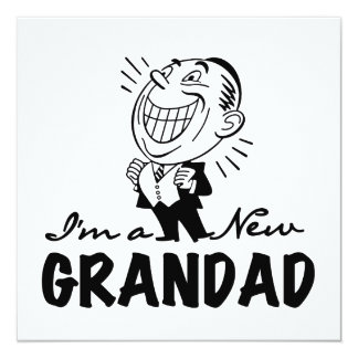 Smiling New Grandad T-shirts and Gifts 5.25x5.25 Square Paper Invitation Card