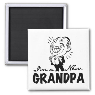 Smiling New Grandpa T-shirts and Gifts 2 Inch Square Magnet