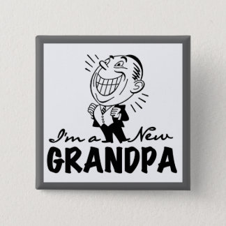 Smiling New Grandpa T-shirts and Gifts Button