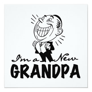 Smiling New Grandpa T-shirts and Gifts 5.25x5.25 Square Paper Invitation Card