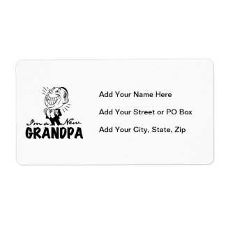 Smiling New Grandpa T-shirts and Gifts Shipping Label
