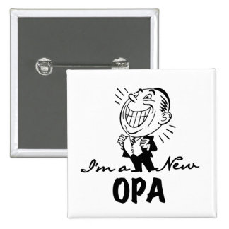 Smiling New Opa T-shirts and Gifts Pinback Button