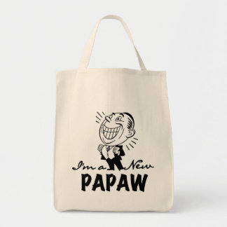Smiling New Papaw Tshirts and Gifts Grocery Tote Bag