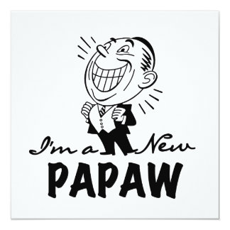 Smiling New Papaw Tshirts and Gifts 5.25x5.25 Square Paper Invitation Card