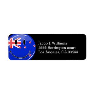 Smiling New Zealand Flag Label